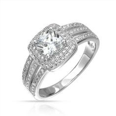 Bling Jewelry Micropave Triple Shank Square Cushion CZ Engagement Ring 925 Silver Bling Jewelry. $54.99. Band width 2mm, Square CZ 6mm. Pave set czs on band. Total Weight 4.1grams. .925 sterling silver. Square Engagement Ring