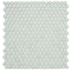Gorgeous mint green penny round tiles -- lovely for bathroom wall or kitchen backsplash! #tile