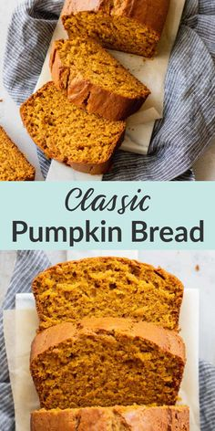 This delicious classic homemade pumpkin bread from Live Well Bake Often is so easy to make! This pumpkin bread is perfectly spiced and full of pumpkin flavor. You can enjoy this bread plain, add chocolate chips, or nuts! #pumpkinbread #classicpumpkinbread #homemadebread #pumpkinrecipes