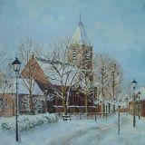 Nootdorp kerk in de sneeuw op linnen