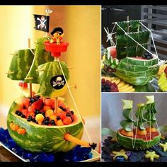 flippin' cute pirate ship fruit display in watermelon. Would be a job but fun!