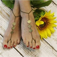Sandali a piedi nudi, oro, boho, matrimonio, zingara, nuziale, senza piede, soleless, hippie, spiaggia, donne, piedi, sposa, hippy, estate, festival - B12