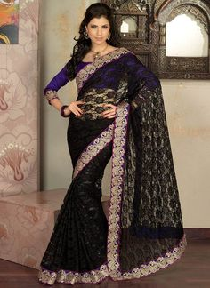 Good Looking Black Color Designer #Georgette #Saree