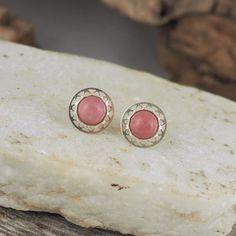 Handmade Natural Stone Earrings  Pink Rhodonite by CJsRocksGems