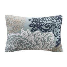 Kiran Blue Oblong Pillow w/Chain Stitch