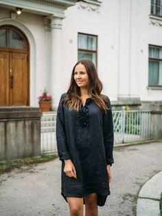 LINEN Ruffle Dress - pellavamekko, musta | PURA Finland Ruffle Dress, Cold Shoulder Dress, Shirt Dress, Finland, How To Make, Shirts, Dresses, Fashion, Moda