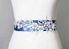 Bridal Couture  Beaded Ivory Lace Flower Royal Blue Sash Belt by NAFEstudio