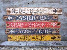 Nautical Crab Shack, Oyster Bar, Yacht Club, Nude Beach, Boardwalk Wood Signs Distressed Rustic by TheUnpolishedBarn