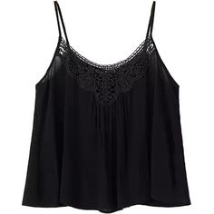 Choies Black Spaghetti Strap Crochet Lace Panel Cropped Cami (56.070 COP) ❤ liked on Polyvore featuring tops, shirts, crop tops, tank tops, black, black singlet, crop shirts, black crop top, black camisole and black crop shirt