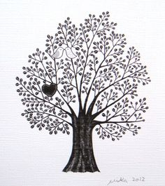 Tree of Love Bird Heart Print of Original Ink Drawing illustration Woodland Wedding 4x6. $7.99, via Etsy.