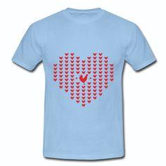T-shirt Bleu Ciel France Coqs Cœur
