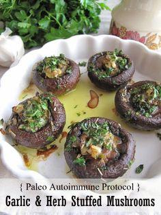 AIP / Garlic & Herb Stuffed Mushrooms - French Paleo Recipe
