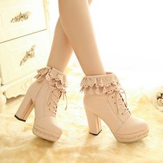 """Sweet lace high-heeled shoes $32.00 coupon """"insta"""" 10% off. Material: pu Color: pink. white. apricot. With high: 10 cm. Waterproof units: 3 cm. High drum: 11 cm. Size: EU35 = 225 mm. EU36 = 230 mm. EU37 = 235 mm. EU38 = 240 mm. EU39 = 245 mm.  Tips:  *Please double check above size and consider your measurements before ordering, thank you ^_^..."""