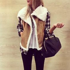 Lovinnnn this look <3 Free people plaid shirt, hinge vest
