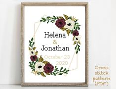 Wedding Cross Stitch Patterns, Modern Cross Stitch Patterns, Hand Embroidery Patterns, Print Patterns, Pattern Designs, Alphabet And Numbers, Handmade Crafts, Cross Stitching, Wedding Gifts