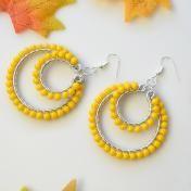 Orange Glass Beads Wire Wrapped Hoop Earrings