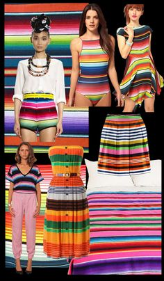 Head south of the border to Mexico for some serape love. These festive blankets come in bands of yellow, orange, red, blue, green, purple or other bright colors, and provide exciting color inspiration for designers and costumers alike. The color packed blankets and ponchos were traditionally worn by men and woven by hand on house looms by Mayan families.