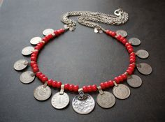 Another Cool Necklace - Kuchi Coin Necklace with Coral Beads and Vintage by BevaStyles, $60.00