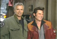 Richard Dean Anderson with Kurt Russell.the two Capt Jack O'Neills. Stargate Movie, David Hewlett, Best Sci Fi Shows, Stargate Universe, Richard Dean Anderson, Michael Shanks, Kurt Russell, Jethro, Stargate Atlantis