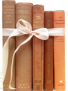 Pink and Orange, Decorative Old Books, Celosia Orange, Cayenne Pink by beachbabyblues, $48.00