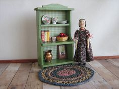 Vintage Green Wooden Hutch and Accessories for Small by TheToyBox
