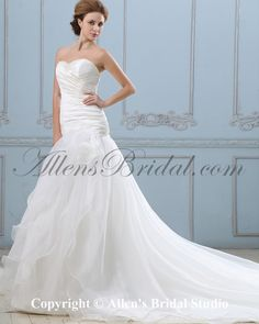 Organza Sweetheart Court Train Mermaid Wedding Dress on sale at affordable prices, buy Organza Sweetheart Court Train Mermaid Wedding Dress at AllensBridal.com now!