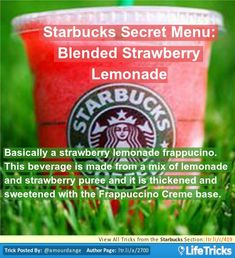 Basically a strawberry lemonade frappucino. This beverage is made from a mix of lemonade and strawberry puree and it is thickened and sweetened with the Frappuccino Creme base. Starbucks Hacks, Secret Starbucks Drinks, Starbucks Secret Menu, Starbucks Recipes, Starbucks Coffee, How To Order Starbucks, Secret Menu Items, Non Alcoholic Drinks, Beverages
