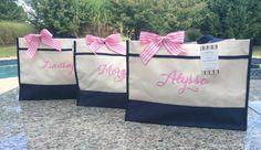 Sale  Personalized Tote Bag  navy hot pink black lime  by nnichols