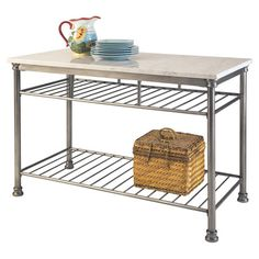 Add prep and serving space to your kitchen with this steel-framed island, showcasing a marble veneer top and 2 storage shelves.  Product...