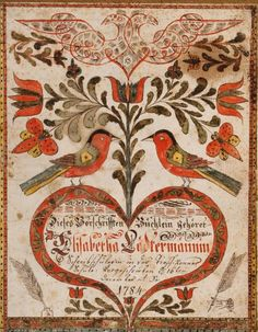 Johann Adam Eyer American, 1755–1837, active c. 1779–1820 Cover for a Book of Copy Models (Vorschriften-Büchlein)  1784 Watercolor, pen and iron gall ink, and pen and red watercolor on laid paper 8 1/8 x 6 7/16 in. (20.6 x 16.4 cm) BF936 Image © 2013 The Barnes Foundation