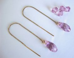 Light Amethyst Swarovski Crystal 3 Inch Gold-filled Threader Earrings - Bridesmaid Earrings - Handmade Minimalist Jewelry - Radiant Orchid