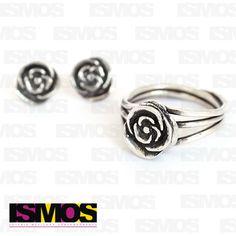 ISMOS Joyería: juego de aretes y anillo en plata // ISMOS Joyería: silver earrings and ring set