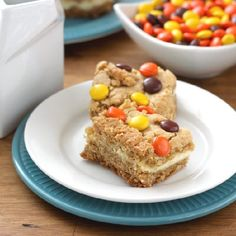 Reese's Pieces Peanut Butter Cookie Cheesecake Bars