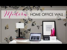 Stencil Tutorial - Paint a Modern Home Office Wall - Decorate your walls with modern wall art stencils! Cute and trendy design that can be painted and repeated on an accent wall. In this DIY tutorial, we show you how to stencil and paint a modern home office wall. - Royal Design Studio wall stencils