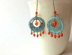 *SALE 20 OFF TONIGHT ONLY*  Chandelier Earrings Faux Patina & Red by TesoroDelSol, $12.00
