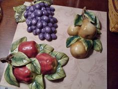 Vintage Home Interiors (HOMCO) Ceramic Fruit Wall Hangings - Grapes, Apples, Pears