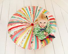 Large Whimsical Floor Cushion, Pouffe, Pillow - Moda Fabric and Cord with Giant Buttons from #bigbirdsboutique on #etsy