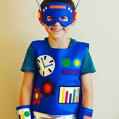 Beep! Boop! Beep! Let the kids pretend to be this adorable Robot with their very own handmade, high quality costume made from eco-friendly felt and other various fabrics. The entire top is made from felt, has a silver metallic band, and adorned with various buttons and gears, all of