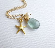 Gold Starfish Birthstone Pearl Necklace  by tinycottagetreasures, $36.00