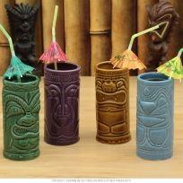Tiki Gods Ceramic Tiki Mugs Set of 4