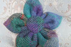 Purple and green Harris tweed corsage pin brooch by TweedieBags