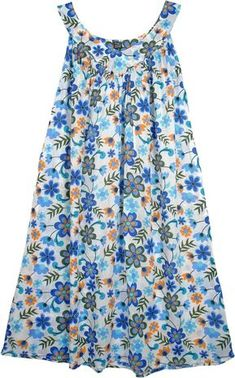 Daisy Floral Simple Cotton Summer Dress TLB - Cotton White Dresses > Floral Dress (Sleeveless, Misses, Floral, Printed) Easy Going Summer DressA blue floral print on a white, cotton light weight summer dress to wear around the house or on the beach Night Gown Dress, Simple Summer Dresses, Summer Clothes, Nightgown Pattern, Summer Dress Patterns, House Dress, African Attire, Maternity Fashion, Get Dressed