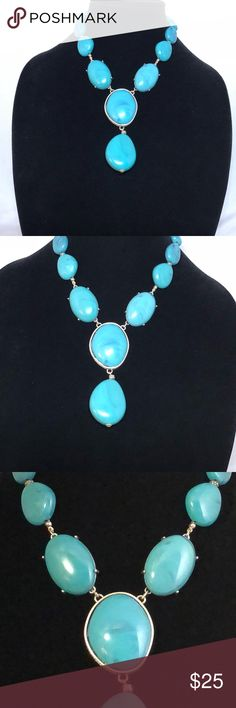 """Vintage Turquoise statement necklace STUNNING ! This statement necklace is from my mother's collection, so my knowledge is limited . It's a bold piece , turquoise , lobster claw Closure and measures approx 12"""" .  There is a stamped marking of -NRT in it - most likely the designer .  Excellent condition   Questions? I'd be happy to answer ! Jewelry Necklaces"""