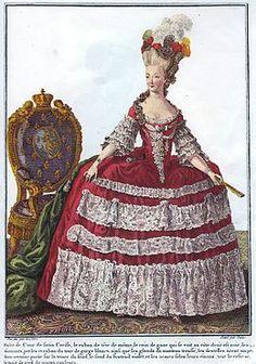 Voici une robe typique du temps de Versailles c'était une très grande robe avec un corset.