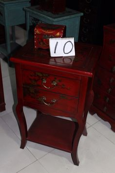 Hand painted elm wood side table from Beijing, China