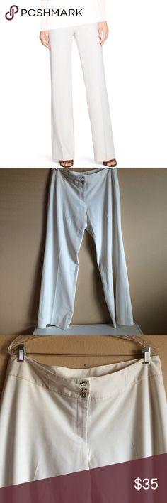 WHBM Legacy Boot Leg Off White Trousers WHBM Legacy Fully Lined Boot Leg Off White Trousers Size 14R 60% Polyester 32% Rayon 8% Spandex 3 Silver Buttons in front and zipper closure 2 back pockets  Inseam 32inches Waist 38 inches White House Black Market Pants