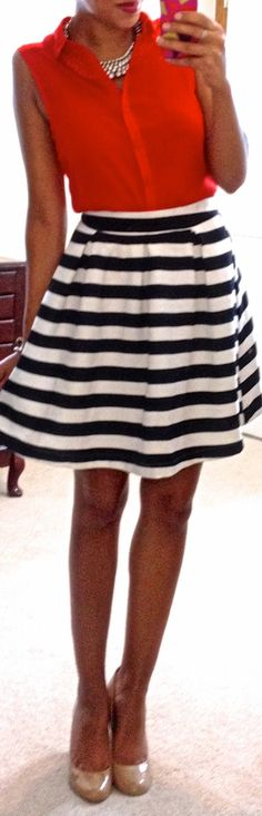 Pop of Style in a black and white striped skirt   33 ways to wear ...