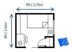 here s 8 x 9ft 2 44 x 2 74m bedroom layout which fulfills the 70 rh pinterest com 8 feet by 8 feet bedroom 8 by 8 bathroom layout