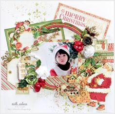merry christmas - Yuko Tanaka Graphic 45 - Twas the Night Before Christmas Collection - 12 x 12 Double Sided Paper - Ho Ho Ho
