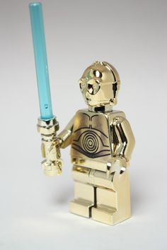 Star Wars C3PO Custom Gold Chrome Lego Minifigure Replica complete with chrome gold blue light sabre! on Etsy, $35.03